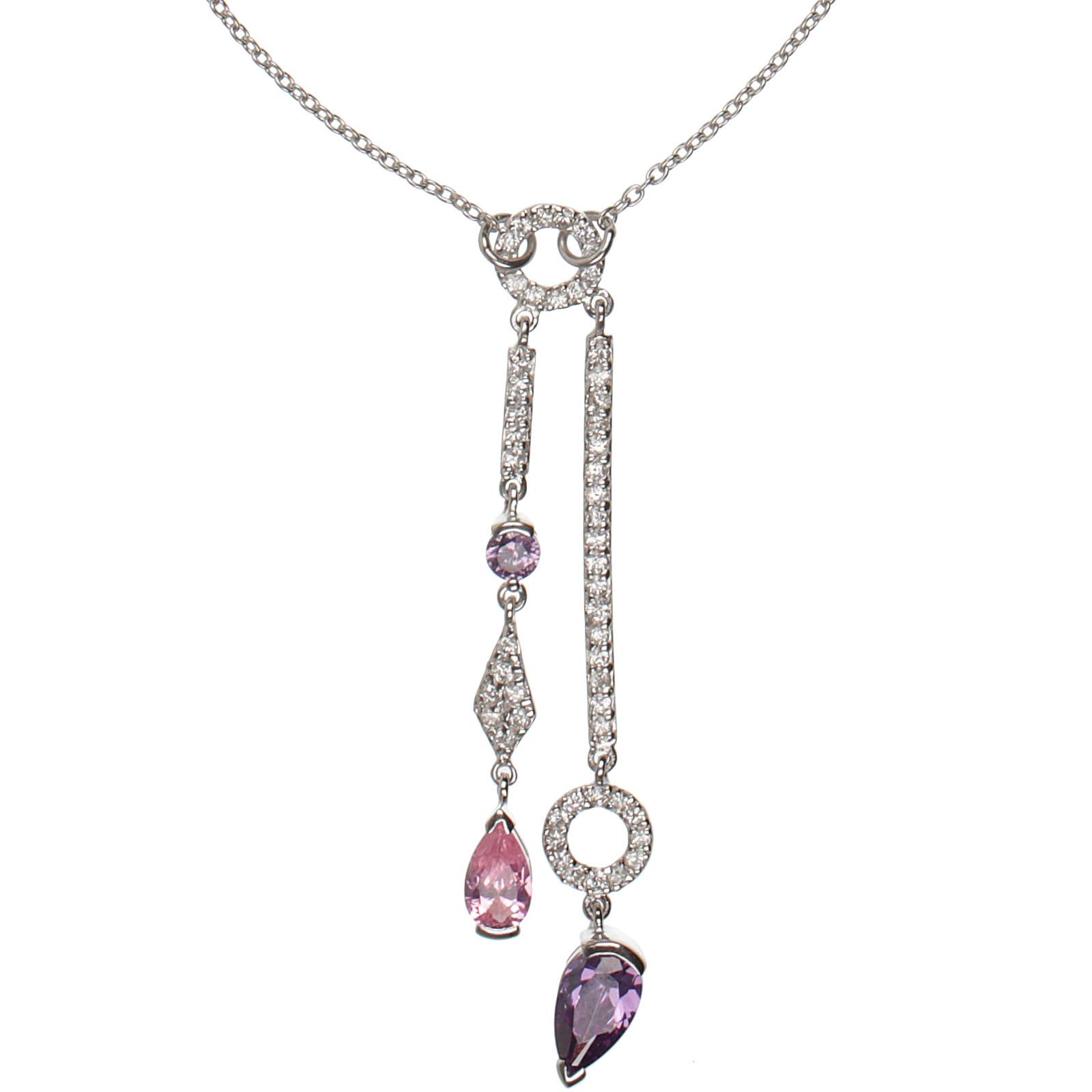 Damen-Halskette-echt-Silber-925-Sterling-mit-Zirkonia-46-cm-lang-Collier