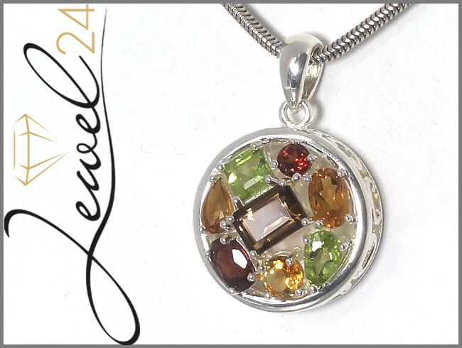Damen-Anhaenger-echt-Silber-925-Sterling-Rhodolith-Peridot-Citrin-und-Rauchquarz
