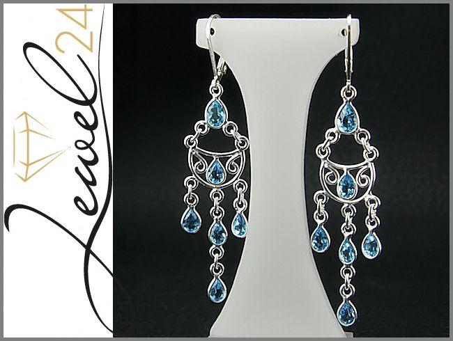 Damen-Chandelier-Ohrhaenger-aus-925-Sterling-Silber-mit-Swiss-Blautopas-blau